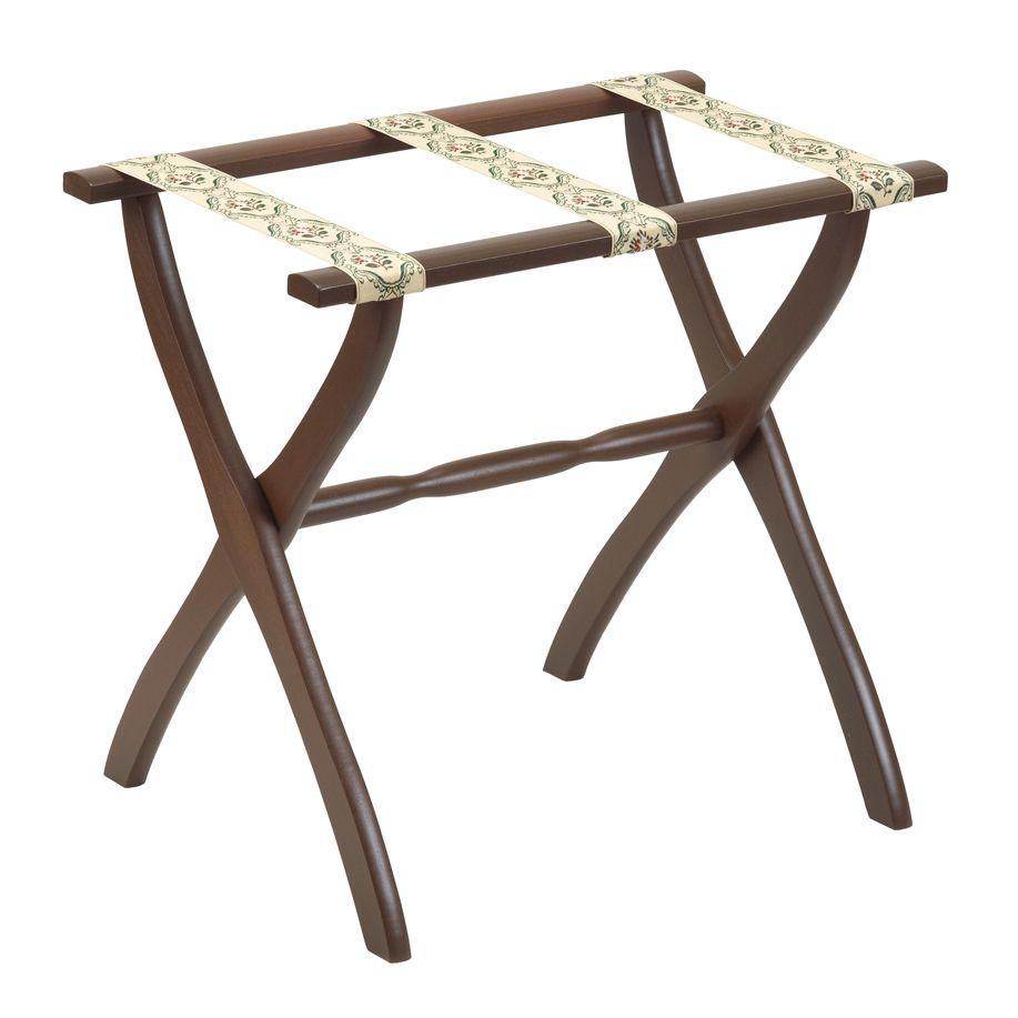 Gate House Furniture 1307 Dark Walnut Luggage Rack with Petit Point Straps - 22 X 13 X 20 Inch