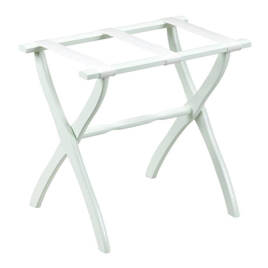 Gate House Furniture 1403 White Luggage Rack with White Nylon Straps - 22 X 13 X 20 Inch