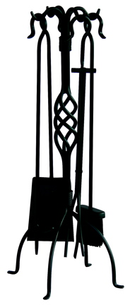 Uniflame F-1053 5 PC BLACK WROUGHT IRON FIRESET WITH CENTER WEAVE