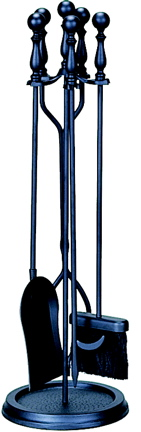 Uniflame F-1625 5 Piece Black Fireset with Ball Handles