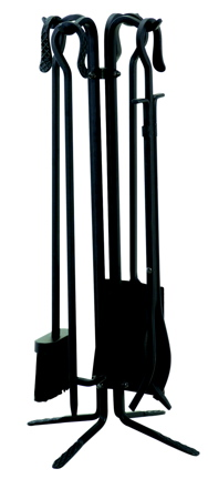 Uniflame T18070BK 5 PC BLACK WROUGHT ITON FIRESET WITH CROOK HANDLES