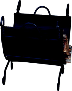 Uniflame W-1125 RING SWIRL BLACK LOG RACK WITH CANVAS CARRIER