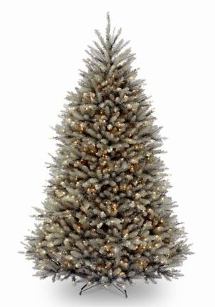 National Tree Company DUBH-75LO 7.5 Foot Dunhill Blue Fir Hinged Tree with 750 Clear Lights