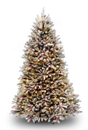National Tree Company DUF-300-75 7.5 Foot Hinged Tree with Snow  Red Berries  Cones and 750 Snow Lights