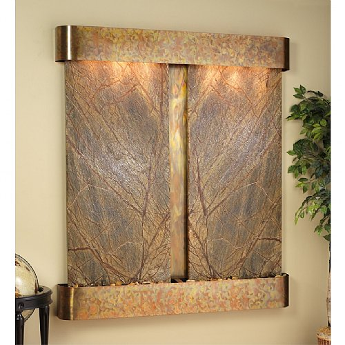 Adagio CFR2006 61 x 69 Inch Cottonwood Falls Rounded Stainless Rainforest Brown Marble Water Feature