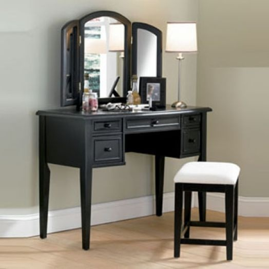 Powell 502-290 Antique Black with Sand Through Terra Cotta Vanity  Mirror & Bench