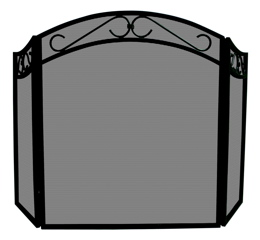 Uniflame S-1088 3 FOLD BLACK WROUGHT IRON ARCH TOP SCREEN WITH SCROLLS