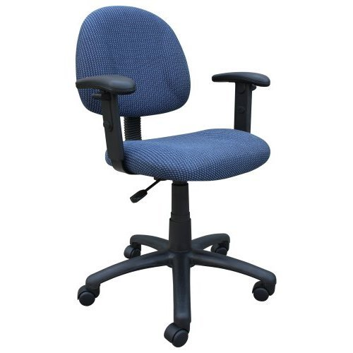 Boss B316-BE Deluxe Posture Task Computer Chair with Adjustable Arms - Blue