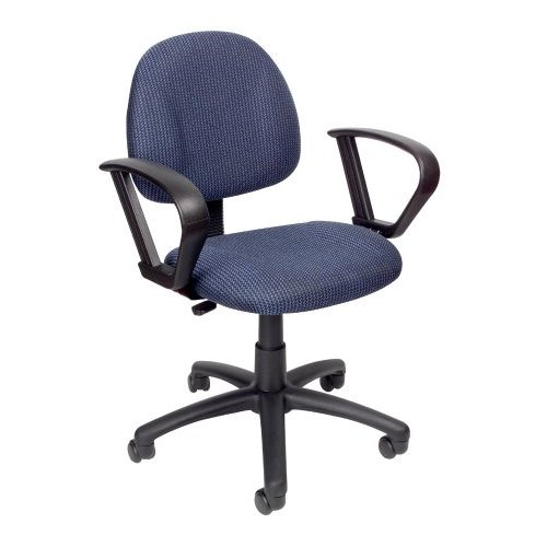 Boss B317-BE Deluxe Posture Task Computer Chair with Loop Arms - Blue