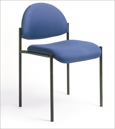 Boss B9505-BE Contemporary Armless Fabric Stackable Chair - Blue
