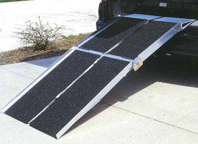 Prairie View Industries 8-ft x 30-in Portable Multifold Reach Wheelchair Ramp 800 lb. Weight Capacity  Maximum 16-in Ris