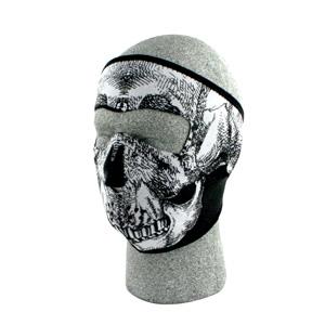 Zan Headgear WNFM002 Neoprene Face Mask  Black and White Skull Face