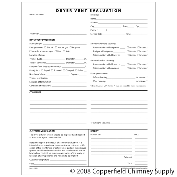 Docuforms  Inc.  Dryer Vent Evaluation Form  Pack Of 100 Triplicate Forms