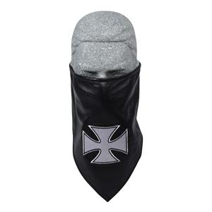 Zan Headgear BL005 Leather Bandanna with Fleece Lining  Embroidered  Iron Cross