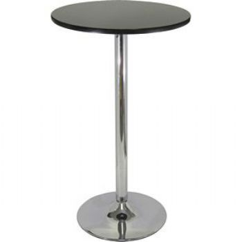 Winsome  93624 Pub Table - Black with Chrome MDF Top Iron Base Black Top Metal Leg
