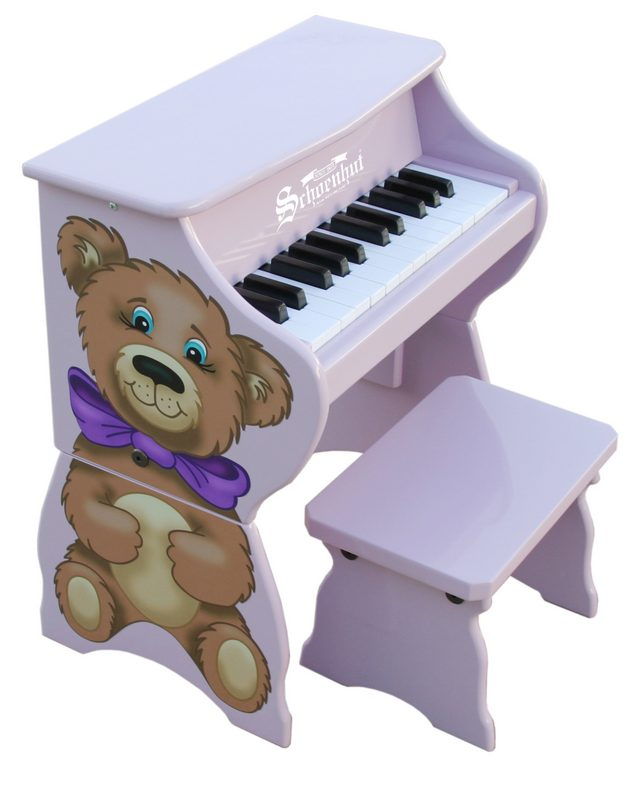 Schoenhut 9258TB Lavender 25 Key Teddy Bear Piano with Bench