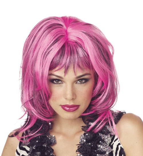 Costumes For All Occasions MR177015 Wig Hard Rockin Witch Blk Pink