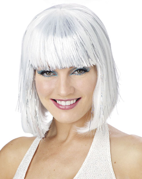 Costumes For All Occasions MR177050 Wig White Shimmering Bob