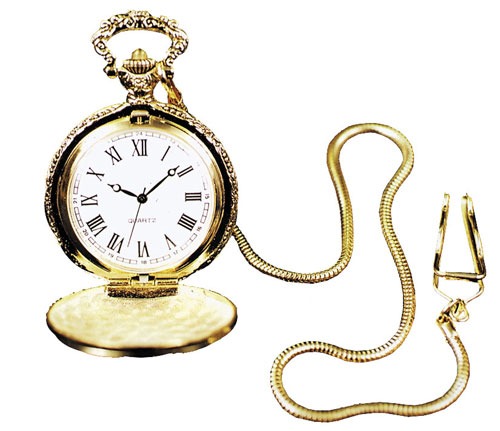 Costumes For All Occasions BB337 Pocket Watch With Chain Gold
