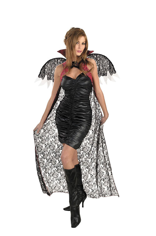 Costumes For All Occasions DG3843 Red Black Lace Cape W Wings
