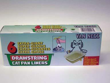 Van Ness Plastic Molding Drawstring Cat Pan Liners 6pk Xxlarge - DL7
