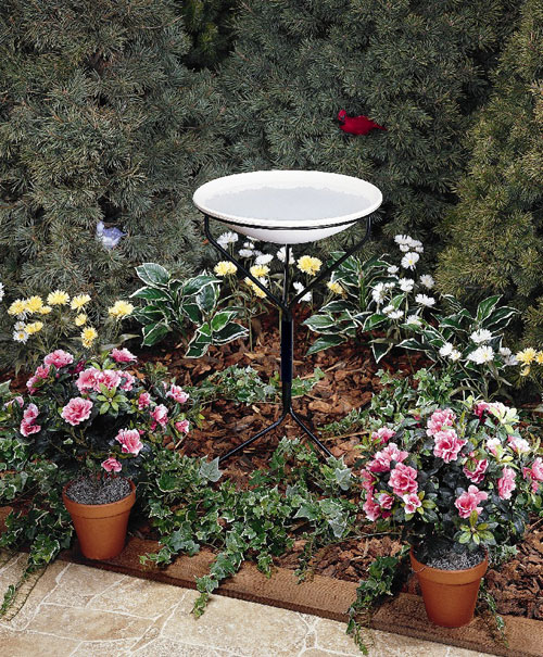 Allied Precision 20 in. Bird Bath with Metal Stand - Non-Heated