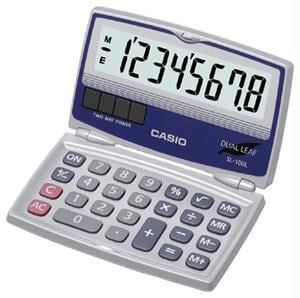 CASIO SL-100L SOLAR CALCULATOR with FOLDING HARD CASE