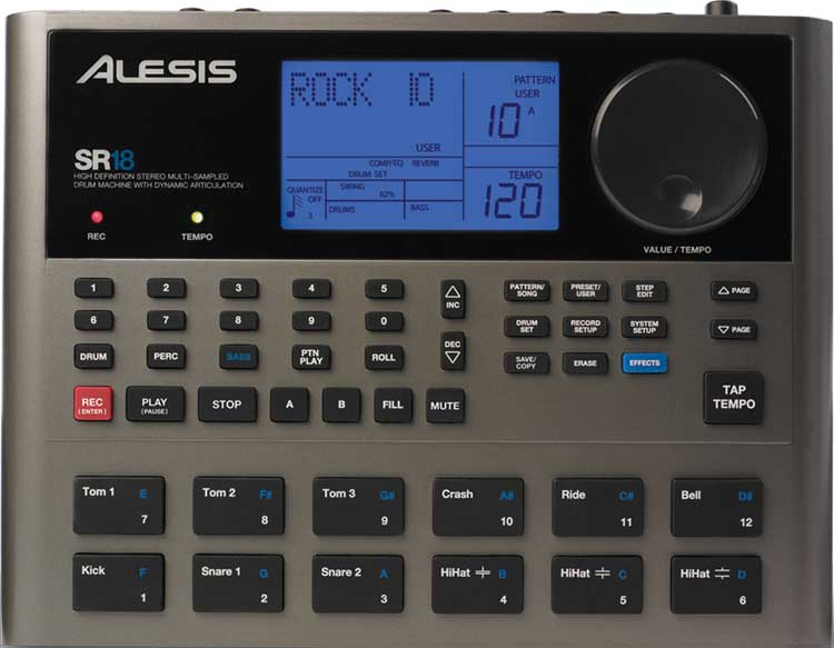 Alesis SR18 Drum Machine with integrated effects engine includes Reverb  EQ & Compression