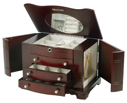 Mele & Co. 0074511 Locking Jewelry Box with Pearl Pulls in Cherry