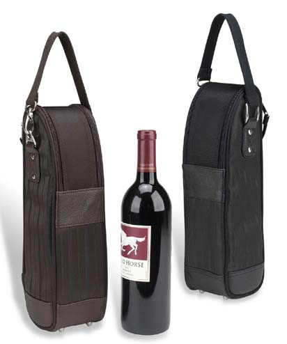 Picnic At Ascot 385NY-BLK New York Wine Tote - Two Tone Black