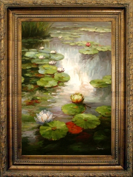 Artmasters Collection YK68376B-64290 Lilly Pond Framed Oil Painting