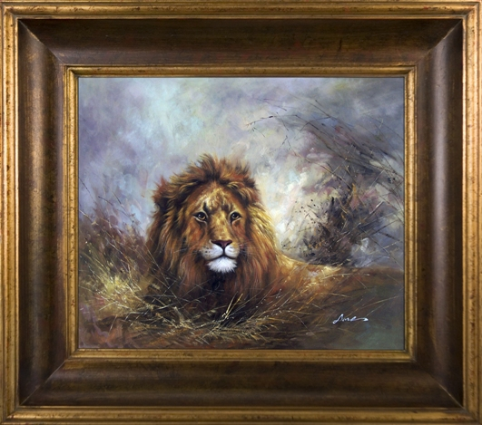 Artmasters Collection AC73110-40G Lion Times Framed Oil Painting