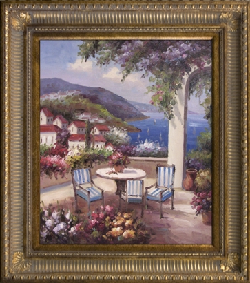 Artmasters Collection KM89463-655D Mediterrenean Summer Framed Oil Painting
