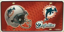 LP - 709 Miami Dolphins NFL Football License Plate - 1101M