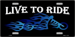 LP - 064 Live to Ride Biker Blue Flames Choppers License Plate - 2689