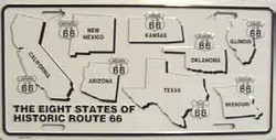 LP - 098 Route 66 Historic Eight License Plate - 5656