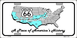 LP - 099 Route 66 A Piece of History License Plate - 6666