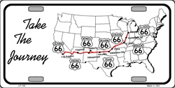 LP - 100 Route 66 Take the Journey License Plate - 7676