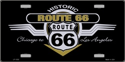 LP - 1030 Historic Route 66 Shield & Wing License Plate - X206