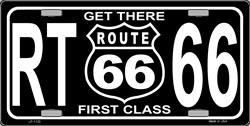 LP - 1133 Get There 1st Class Route 66 License Plate - X326