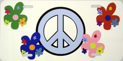 LP - 2020 Peace Sign and Flowers License Plate