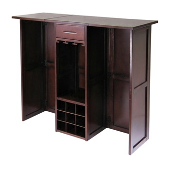 Winsome 94350 Newport Wine Bar Expandable Counter - Antique Walnut