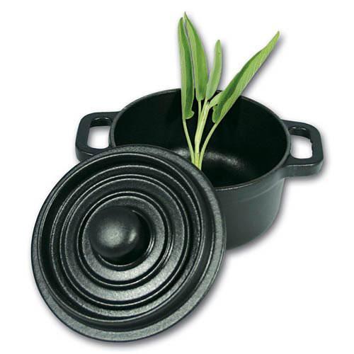 World Cuisine A1730210 Black Cast Iron Round Dutch Oven