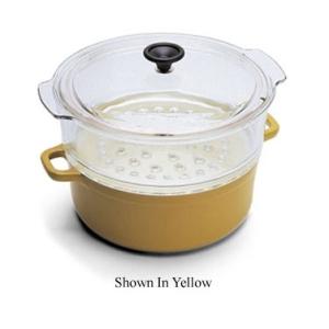 World Cuisine A1746224 4 Qt Red Cast Iron Steamer