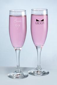 Hortense B. Hewitt 86702 Bride & Groom Flutes with Bow Tie