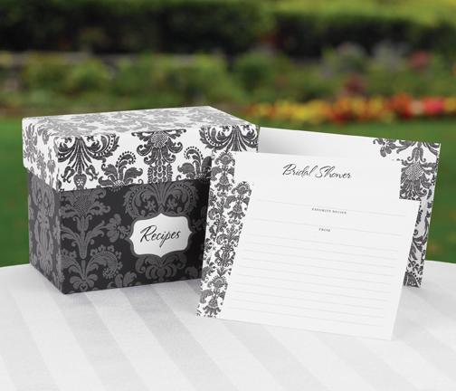 Hortense B. Hewitt 22620 Damask Recipe Box Gift Set