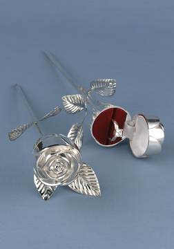 Hortense B. Hewitt 30150 Silver Plated Rose Ring Box