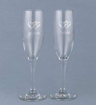 Hortense B. Hewitt 52107 Linked Heart Bride & Groom Flutes