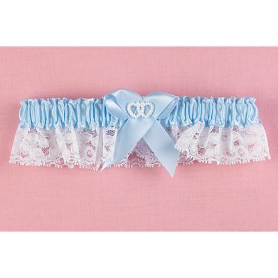 Hortense B. Hewitt 69339 Blue Double Heart Garter Narrow Lace