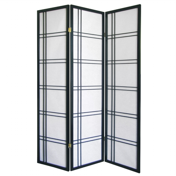 Ore International R542BK Girard 3-Panel Room Divider - Black